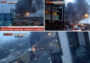 Elicottero cade sul centro di Londra (fermi-immagine SkyTG24