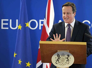 Britain's Prime Minister Cameron speaks during a news conference in Brussels