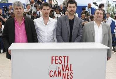 epa03704522 French director Alain Guiraudie, actors Pierre Deladonchamps, Christophe Paou and Patrick d'Assumcao pose during the photocall for 'L'Inconnu du Lac' (Stranger By The Lake) at the 66th annual Cannes Film Festival in Cannes, France, 17 May 2013. The movie is presented in the 'Un Certain Regard' section of the festival which runs from 15 to 26 May.  EPA/GUILLAUME HORCAJUELO