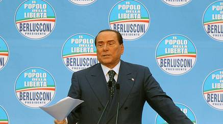 """Leader of centre-right """"People of Freedom"""" party (PDL), Silvio Berlusconi, during his speech at the electoral event in Udine, Italy, 18 April 2013. ANSA/LANCIA"""