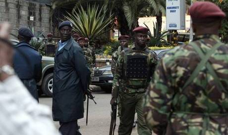 "epa03878234 Kenyan Armed Forces soldiers patrol outside the Westgate mall in Nairobi, Kenya, 22 September 2013. The number of people killed in an attack by al-Qaeda-linked militants on a shopping mall in Nairobi has risen to 59, the Kenyan Interior Ministry said. More than 1,000 people have been rescued from the upmarket Westgate shopping mall, said Interior Minister Ole Lenku. Security forces are now in control of the mall's CCTV room, he added. The Kenyan government has been communicating with al-Qaeda-linked militants holding out at a mall in Nairobi where they killed 59 people, says former prime minister Raila Odinga. ""There is communication between them (attackers) and the political leaders of the country,"" Odinga told journalists at a hospital in the capital. ""It is a difficult operation. Every effort will be made to rescue the hostages,"" he added.  EPA/DANIEL IRUNGU"