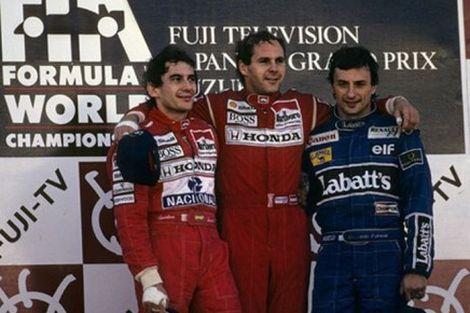 Ayrton Senna, Gerhard Berger e Riccardo Patrese sul podio del Gran Premio del Giappone del 1991