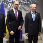 José Manuel Barroso, Arseniy Yatsenyuk, acting Ukrainian Prime Minister, Herman van Rompuy and Catherine Ashton (from left to right)