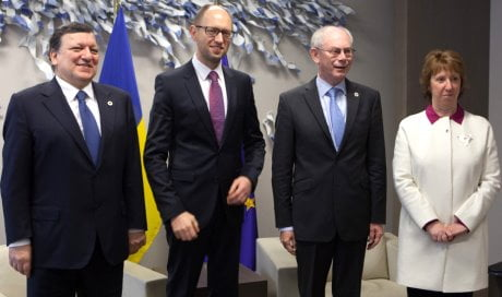 José Manuel Barroso, Arseniy Yatsenyuk, acting Ukrainian Prime Minister, Herman van Rompuy and Catherine Ashton (from left to right)