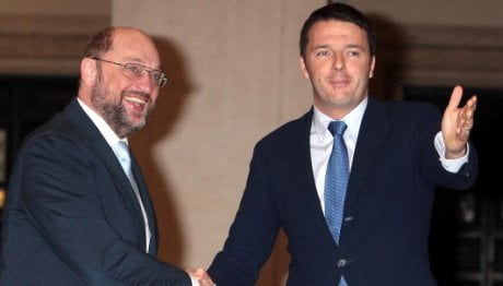 The New Italian Prime Minister Matteo Renzi Meets European Parliament's President Martin Schulz