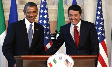 U.S. President Obama and Italian Prime Minister Renzi arrive for a news conference following their meeting at Villa Madama in Rome