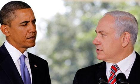 Barack Obama and Binyamin Netanyahu at the White House in 2010
