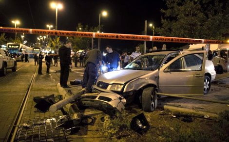 People hurt when car rams into Jerusalem light rail stop