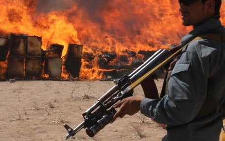 Afghan authorities burn drugs in Herat