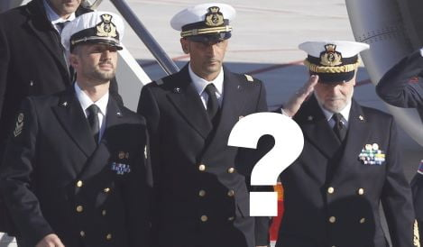 Italian marines Girone and Latorre arrive with Italian Navy Chief of Staff Admiral Mantelli at Ciampino airport in Rome