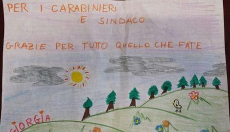 Maltempo: il disegno di una bimba per ringraziare sindaco e carabinieri