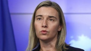 New EU High Representative for Foreign Policy Federica Mogherini and NATO Secretary General Jens Stoltenberg presser