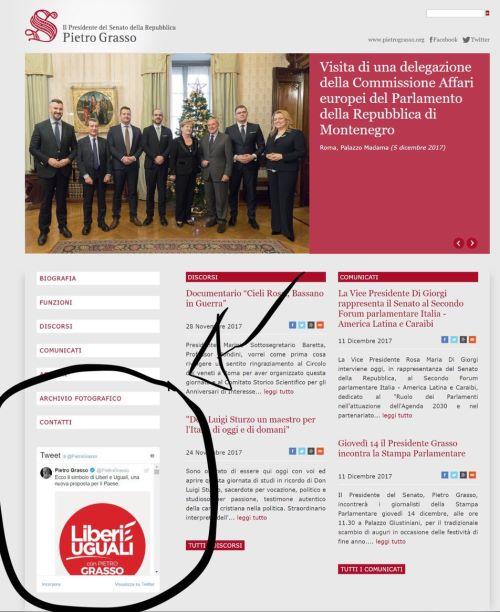 """3472c9d1d863 Una clamorosa """"gaffe"""" di Pietro Grasso  sul sito del Senato è comparso il simbolo  del movimento da lui guidato"""