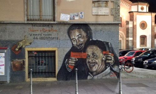 Porta Ticinese, sfregiato murale dedicato a Falcone e Borsellino