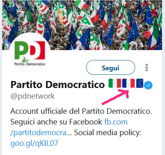 Bandiera Francese Su Profilo Twitter Del Partito Democratico Imola
