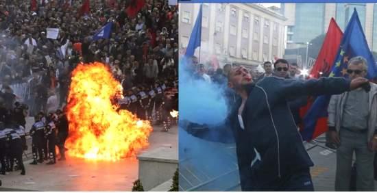 Le proteste contro i palazzi del governo in Albania