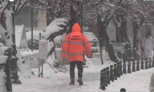 Atene Grecia nevicata