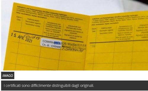 certificati vaccinali falsi