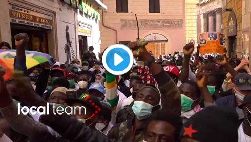 protesta immigrati Roma