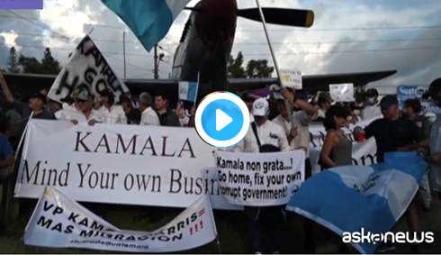 Kamala Harris contestata in Guatemala