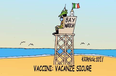 figliuolo vaccini in spiaggia
