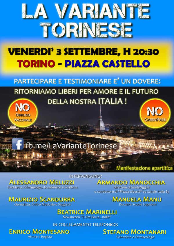 Torino, 3 settembre: manifestazione per dire No a green pass e obbligo vaccinale