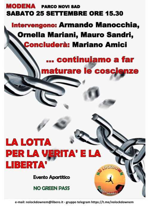 Modena: manifestazione 25 settembre